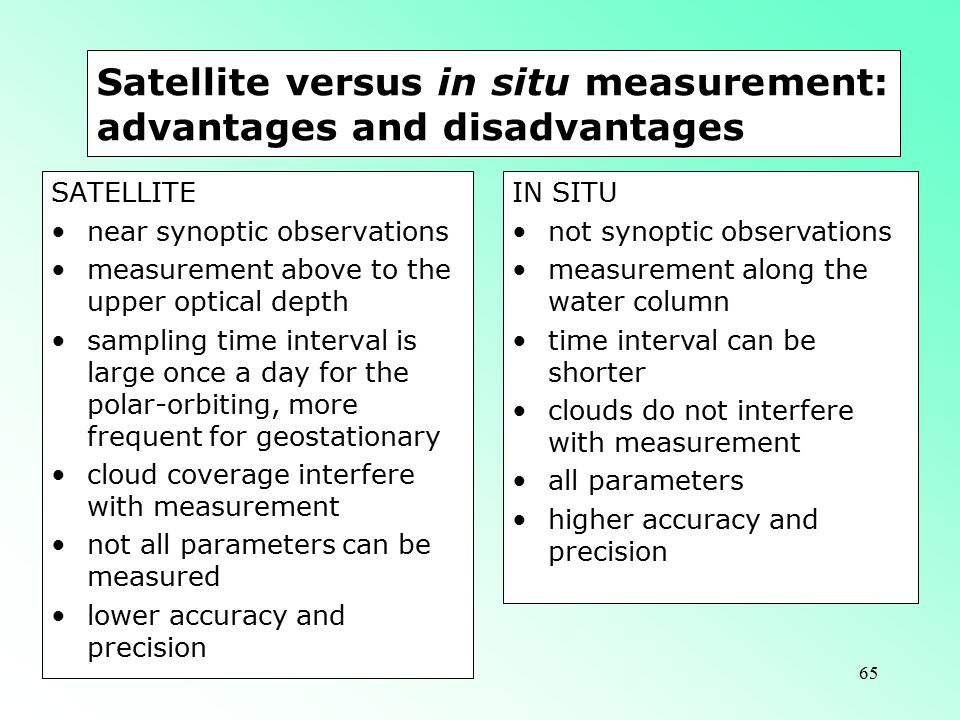 65 Satellite versus in situ measurement: advantages and disadvantages SATELLITE near synoptic observations measurement above to the upper optical depth sampling time interval is large once a day for the polar-orbiting, more frequent for geostationary cloud coverage interfere with measurement not all parameters can be measured lower accuracy and precision IN SITU not synoptic observations measurement along the water column time interval can be shorter clouds do not interfere with measurement all parameters higher accuracy and precision