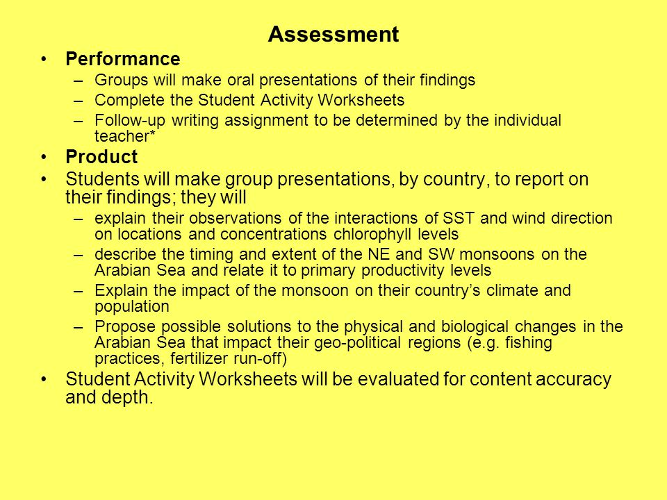 Assessment Performance –Groups will make oral presentations of their findings –Complete the Student Activity Worksheets –Follow-up writing assignment to be determined by the individual teacher* Product Students will make group presentations, by country, to report on their findings; they will –explain their observations of the interactions of SST and wind direction on locations and concentrations chlorophyll levels –describe the timing and extent of the NE and SW monsoons on the Arabian Sea and relate it to primary productivity levels –Explain the impact of the monsoon on their country's climate and population –Propose possible solutions to the physical and biological changes in the Arabian Sea that impact their geo-political regions (e.g.