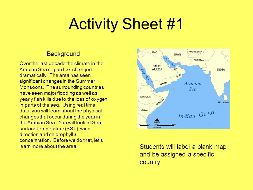 Activity Sheet #1 Background Over the last decade the climate in the Arabian Sea region has changed dramatically.