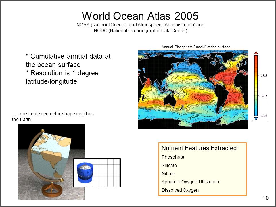 10 World Ocean Atlas 2005 NOAA (National Oceanic and Atmospheric Administration) and NODC (National Oceanographic Data Center) Nutrient Features Extracted: Phosphate Silicate Nitrate Apparent Oxygen Utilization Dissolved Oxygen * Cumulative annual data at the ocean surface * Resolution is 1 degree latitude/longitude...