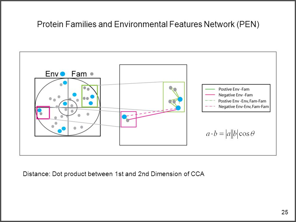 25 Protein Families and Environmental Features Network (PEN) Distance: Dot product between 1st and 2nd Dimension of CCA