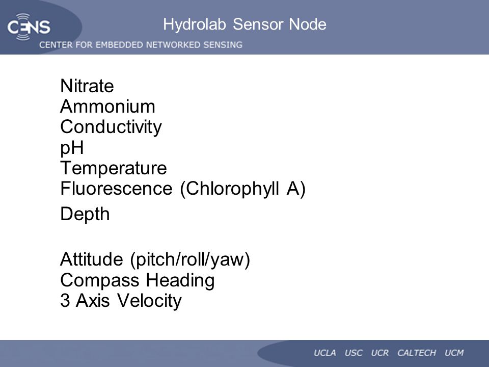 Hydrolab Sensor Node Nitrate Ammonium Conductivity pH Temperature Fluorescence (Chlorophyll A) Depth Attitude (pitch/roll/yaw) Compass Heading 3 Axis Velocity