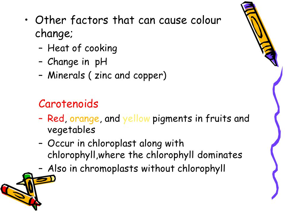 Other factors that can cause colour change; –Heat of cooking –Change in pH –Minerals ( zinc and copper) Carotenoids –Red, orange, and yellow pigments