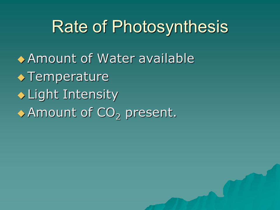 Rate of Photosynthesis  Amount of Water available  Temperature  Light Intensity  Amount of CO 2 present.