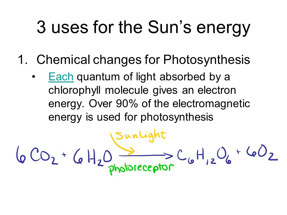 3 uses for the Sun's energy 1.Chemical changes for Photosynthesis Each quantum of light absorbed by a chlorophyll molecule gives an electron energy.