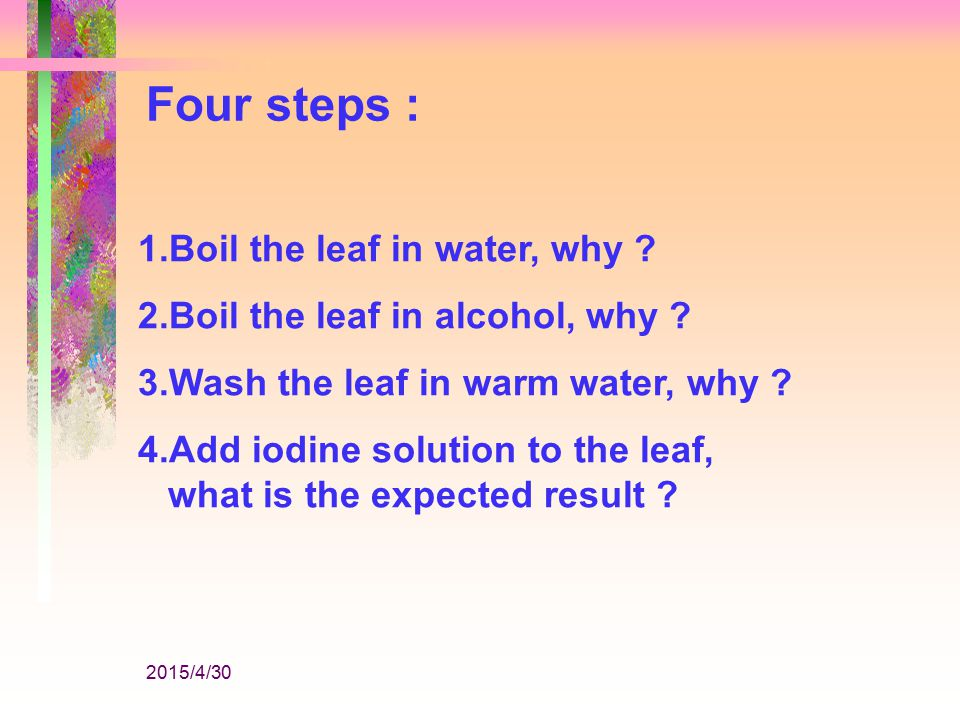 2015/4/30 Experiments : 1.To show that starch is produced during Photosynthesis.