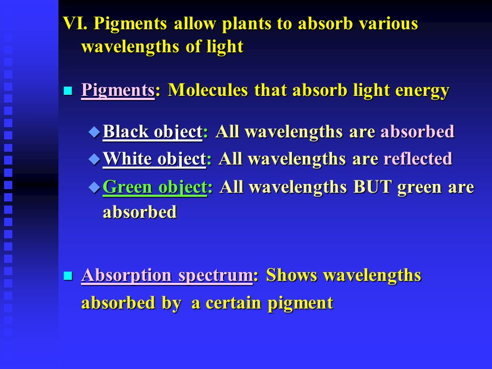 VI. Pigments allow plants to absorb various wavelengths of light n Pigments: Molecules that absorb light energy u Black object: All wavelengths are ab