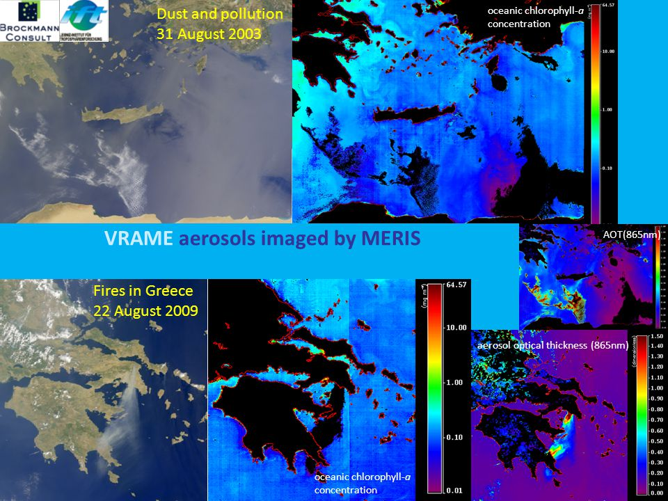 B ROCKMANN C ONSULT S NOW R ADIANCE Dust and pollution 31 August 2003 Fires in Greece 22 August 2009 oceanic chlorophyll-a concentration oceanic chlorophyll-a concentration AOT(865nm) aerosol optical thickness (865nm) VRAME aerosols imaged by MERIS