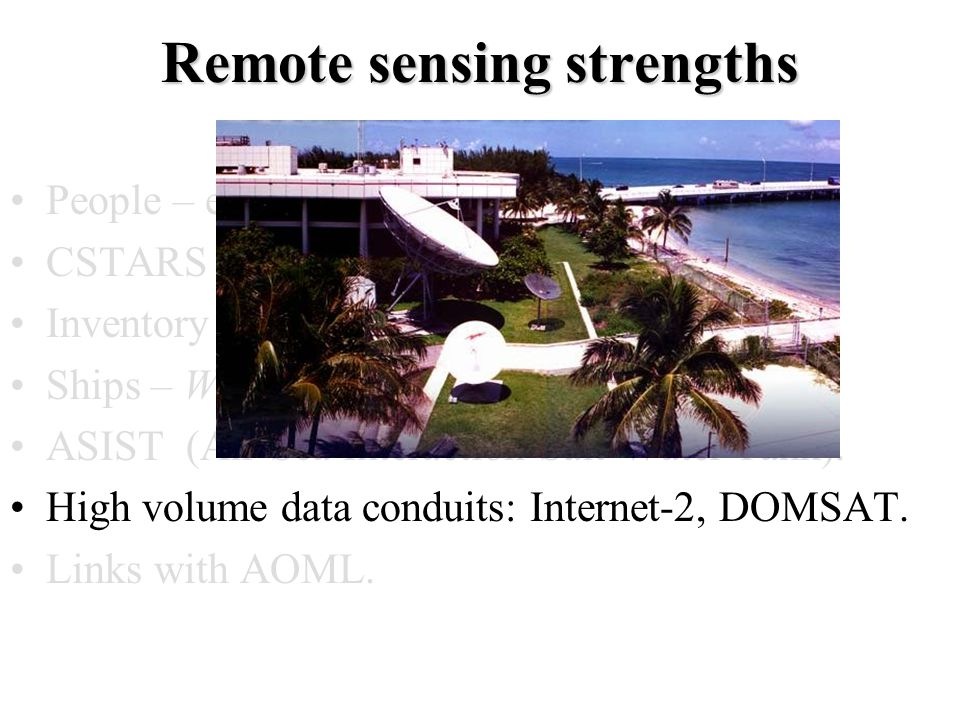 Remote sensing strengths People – expertise, international recognition.