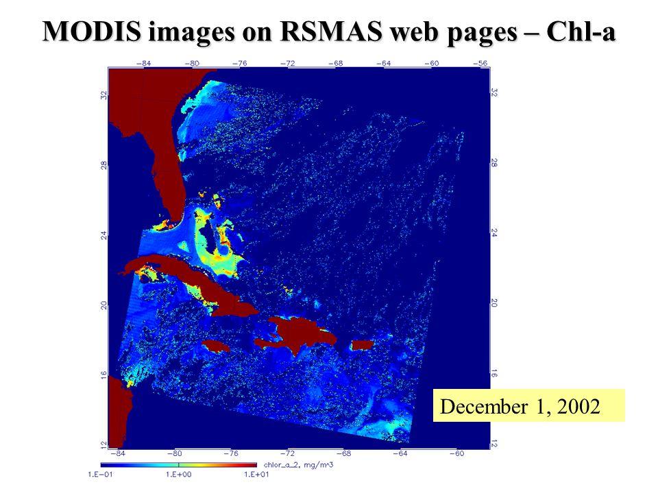 MODIS images on RSMAS web pages – Chl-a December 1, 2002
