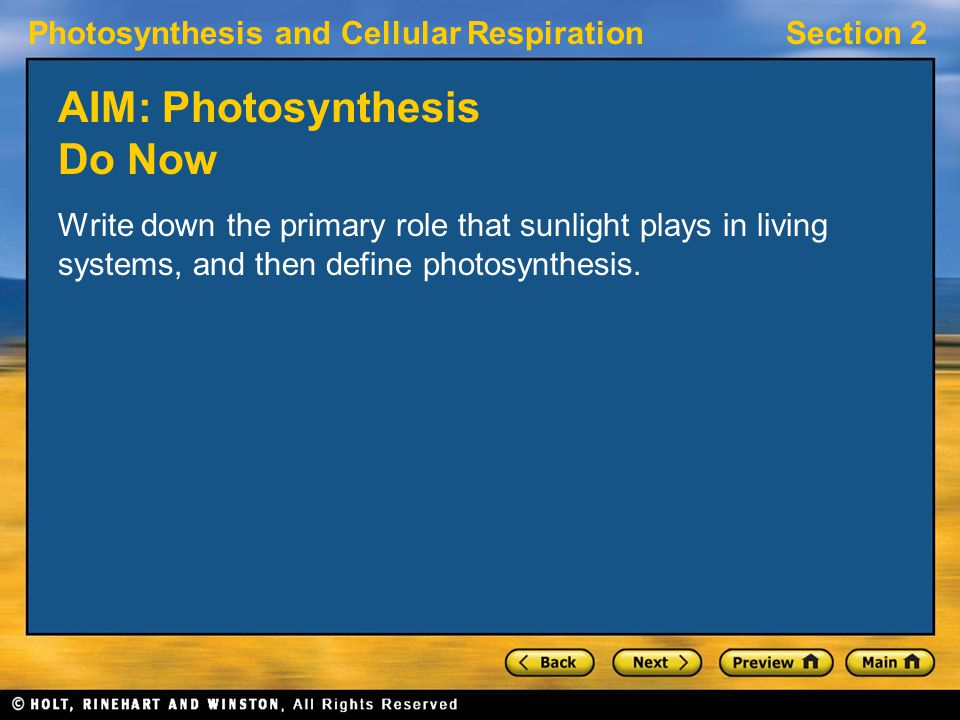 Photosynthesis and Cellular RespirationSection 2 Visual Concept: Environmental Influences on Photosynthesis