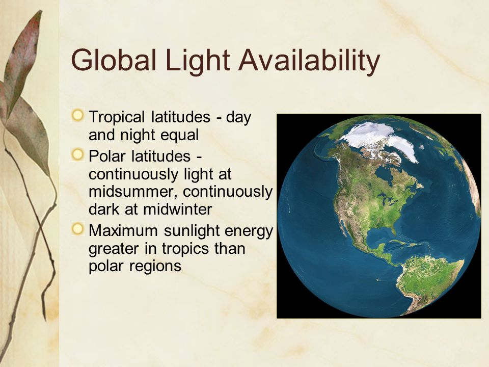 Global Light Availability Tropical latitudes - day and night equal Polar latitudes - continuously light at midsummer, continuously dark at midwinter Maximum sunlight energy greater in tropics than polar regions