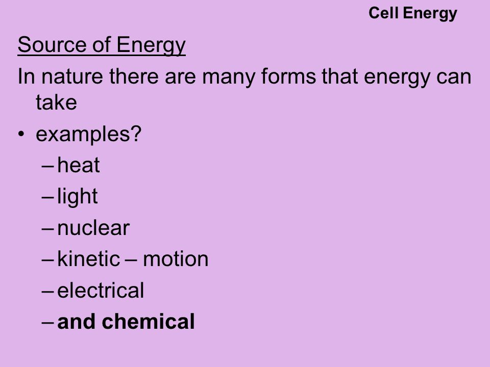 ATP – stored energy Adenosine Diphosphate (ADP) + phosphate Partially charged battery Adenosine triphosphate (ATP) energy Cell Energy
