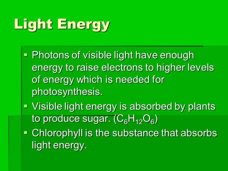 Light Energy  Photons of visible light have enough energy to raise electrons to higher levels of energy which is needed for photosynthesis.  Visible