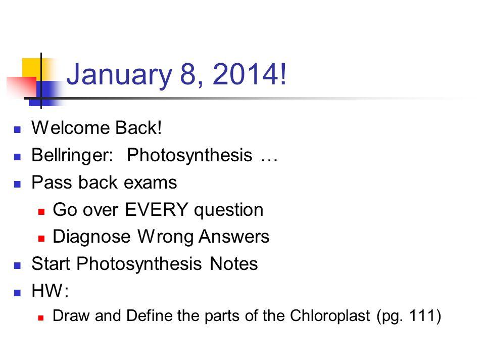 January 8, 2014. Welcome Back.
