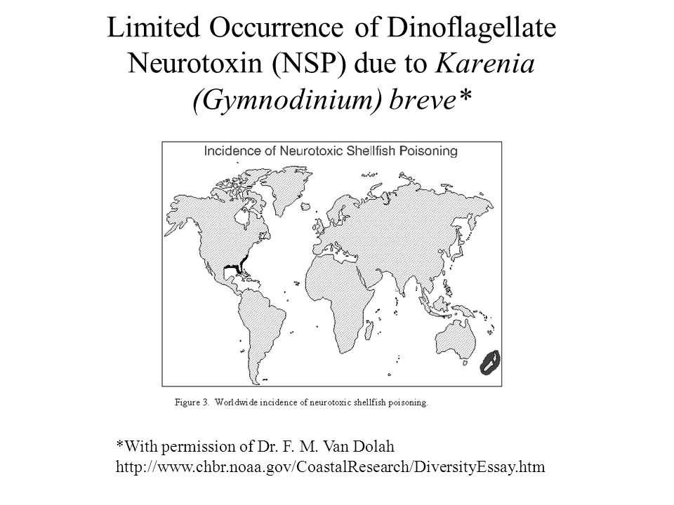 Limited Occurrence of Dinoflagellate Neurotoxin (NSP) due to Karenia (Gymnodinium) breve* *With permission of Dr. F. M. Van Dolah http://www.chbr.noaa