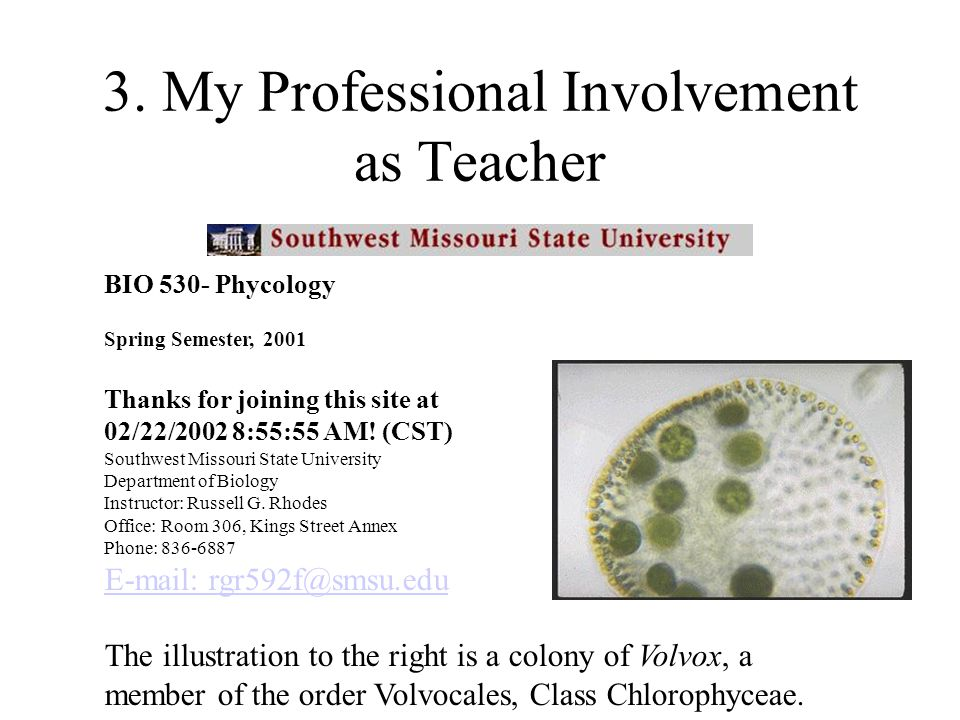 3. My Professional Involvement as Teacher BIO 530- Phycology Spring Semester, 2001 Thanks for joining this site at 02/22/2002 8:55:55 AM! (CST) Southw