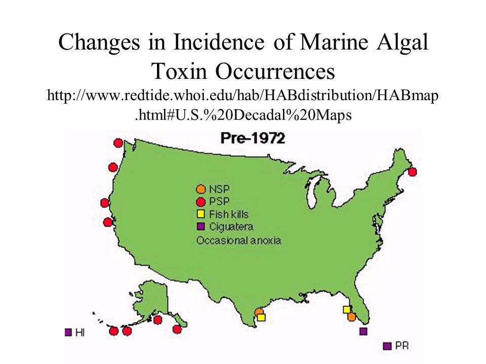Changes in Incidence of Marine Algal Toxin Occurrences 25 Years Later http://www.redtide.whoi.edu/hab/HABdistribution/HABmap.ht ml#U.S.%20Decadal%20Maps