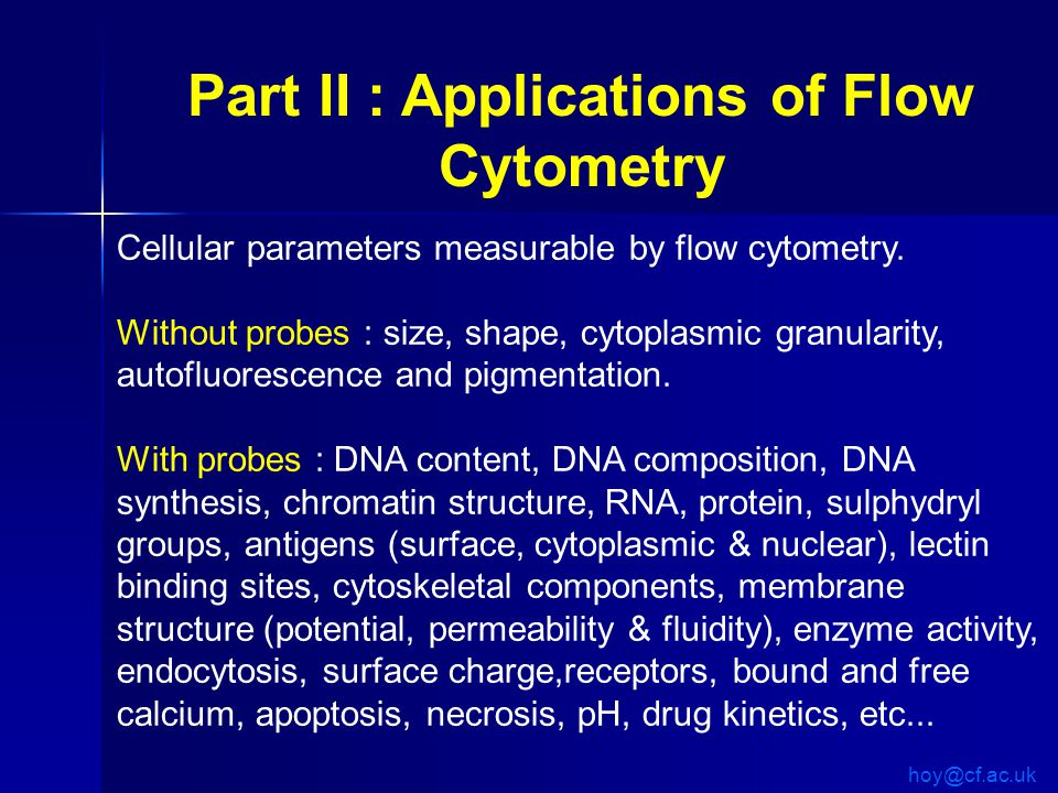 Cellular parameters measurable by flow cytometry.