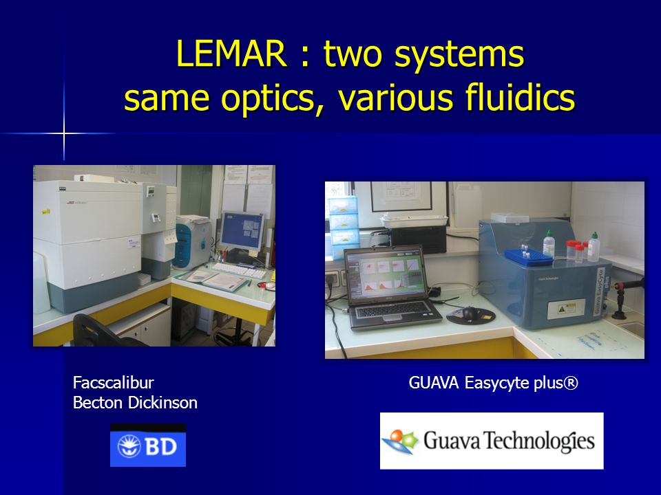 LEMAR : two systems same optics, various fluidics Facscalibur Becton Dickinson GUAVA Easycyte plus®
