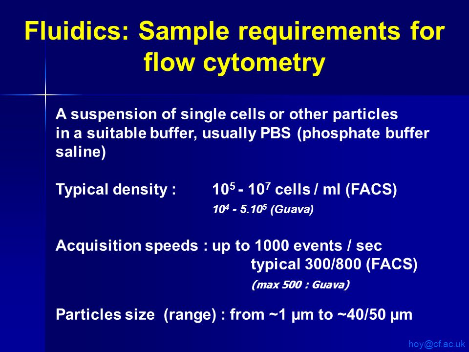 A suspension of single cells or other particles in a suitable buffer, usually PBS (phosphate buffer saline) Typical density : 10 5 - 10 7 cells / ml (