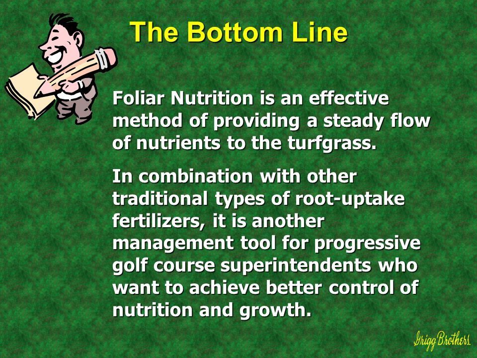 The Bottom Line Foliar Nutrition is an effective method of providing a steady flow of nutrients to the turfgrass. In combination with other traditiona