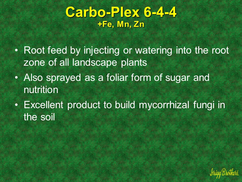 Carbo-Plex 6-4-4 +Fe, Mn, Zn Root feed by injecting or watering into the root zone of all landscape plants Also sprayed as a foliar form of sugar and