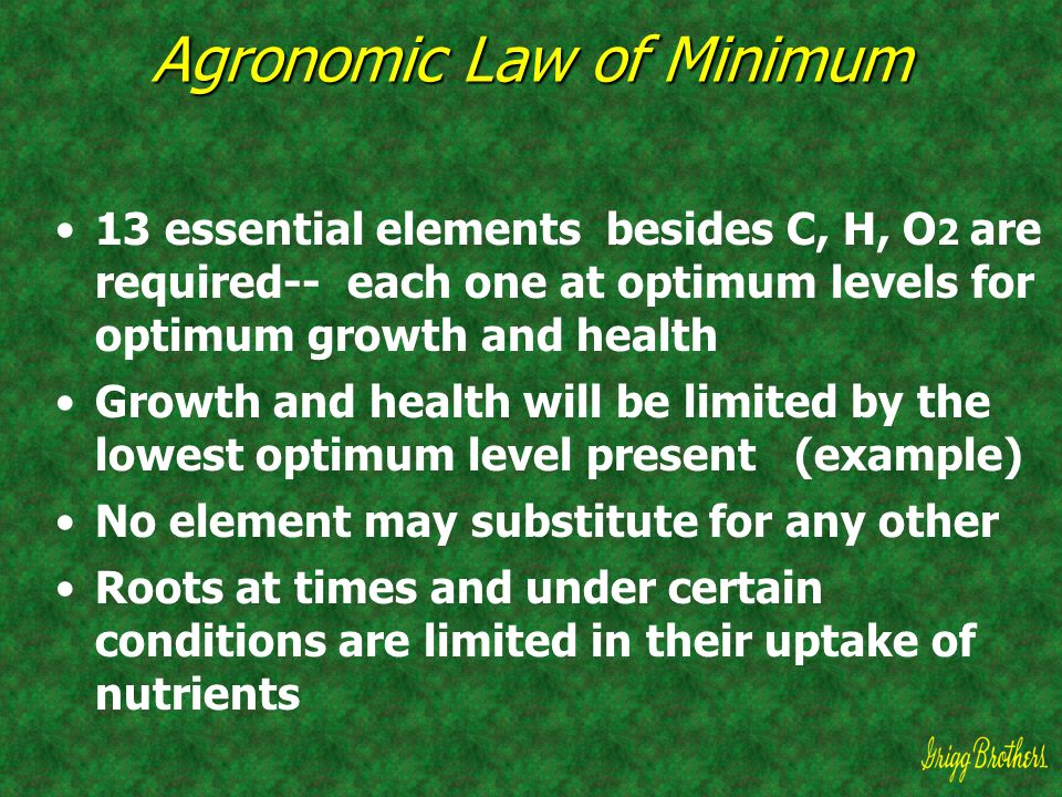 Agronomic Law of Minimum 13 essential elements besides C, H, O 2 are required-- each one at optimum levels for optimum growth and health Growth and he