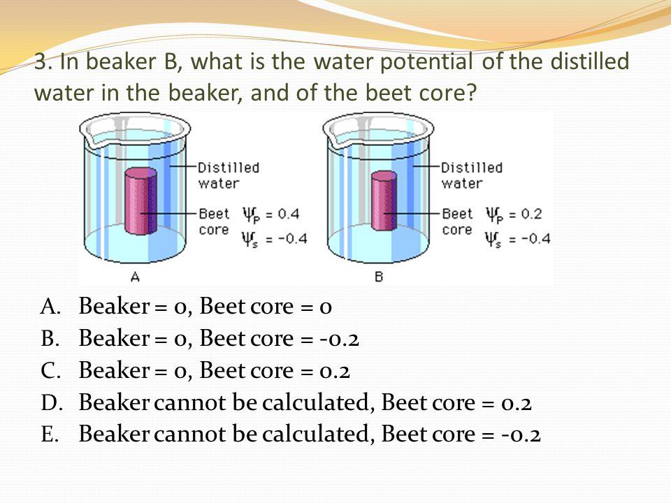 3. In beaker B, what is the water potential of the distilled water in the beaker, and of the beet core? A. Beaker = 0, Beet core = 0 B. Beaker = 0, Be