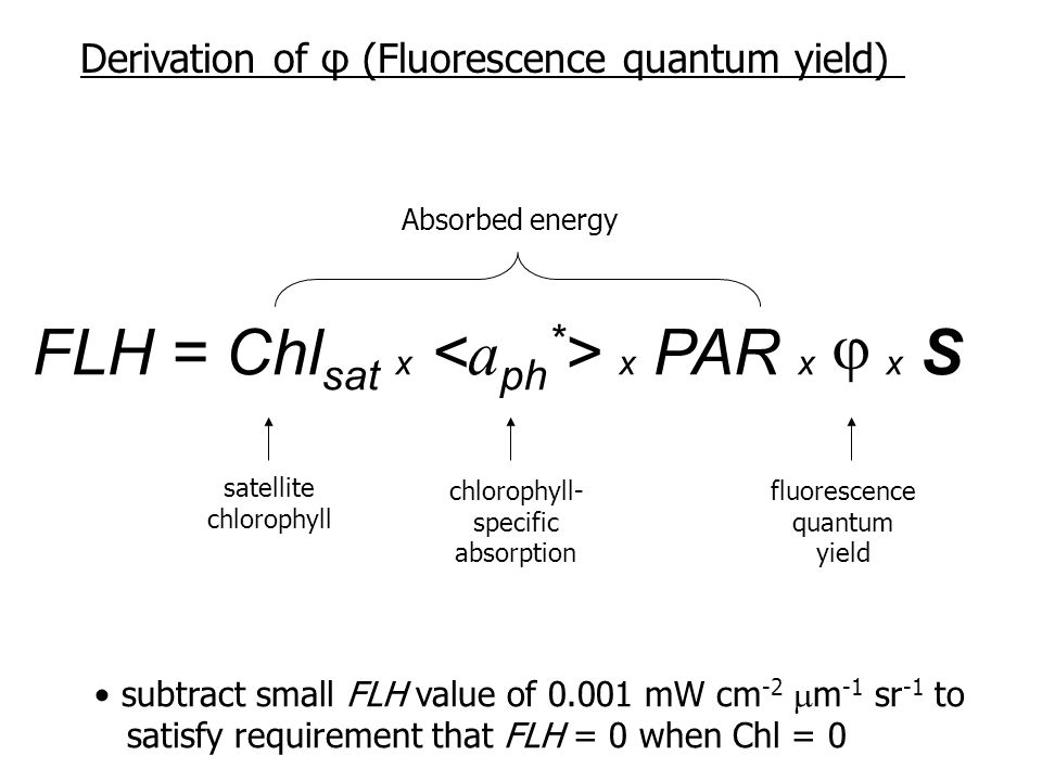 satellite chlorophyll chlorophyll- specific absorption fluorescence quantum yield subtract small FLH value of 0.001 mW cm -2  m -1 sr -1 to satisfy requirement that FLH = 0 when Chl = 0 FLH = Chl sat x x PAR x x S  Derivation of φ (Fluorescence quantum yield) Absorbed energy