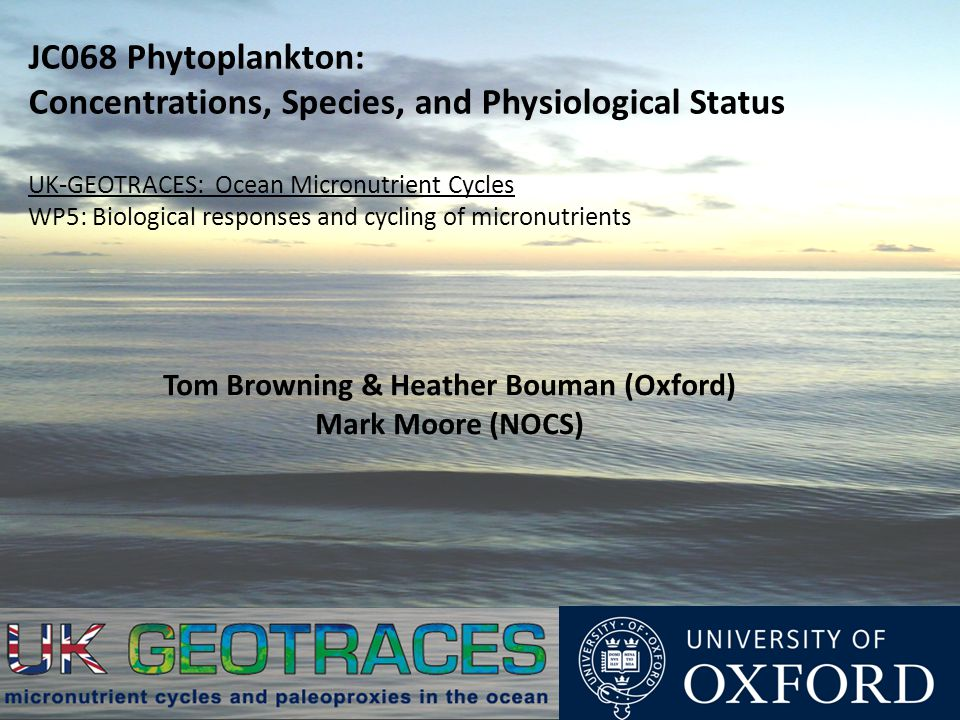 JC068 Phytoplankton: Concentrations, Species, and Physiological Status UK-GEOTRACES: Ocean Micronutrient Cycles WP5: Biological responses and cycling of micronutrients Tom Browning & Heather Bouman (Oxford) Mark Moore (NOCS)
