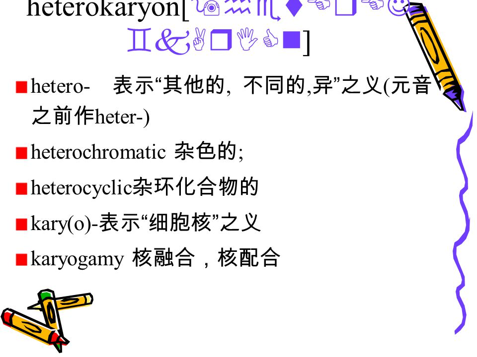 heterokaryon[ 9hetErEJ `kArICn ] hetero- 表示 其他的, 不同的, 异 之义 ( 元音 之前作 heter-) heterochromatic 杂色的 ; heterocyclic 杂环化合物的 kary(o)- 表示 细胞核 之义 karyogamy 核融合,核配合