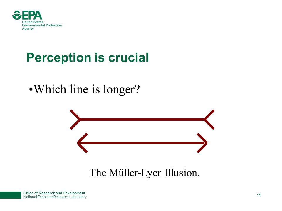 Office of Research and Development National Exposure Research Laboratory 11 Perception is crucial Which line is longer? The Müller-Lyer Illusion.