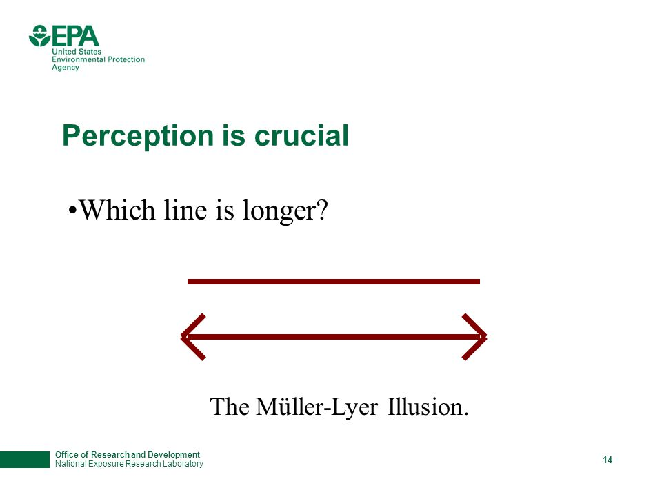 Office of Research and Development National Exposure Research Laboratory 14 Perception is crucial Which line is longer? The Müller-Lyer Illusion.