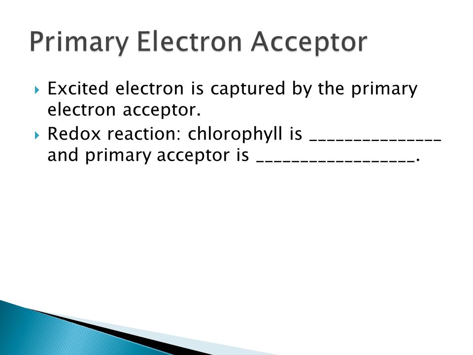  Excited electron is captured by the primary electron acceptor.  Redox reaction: chlorophyll is _______________ and primary acceptor is ____________