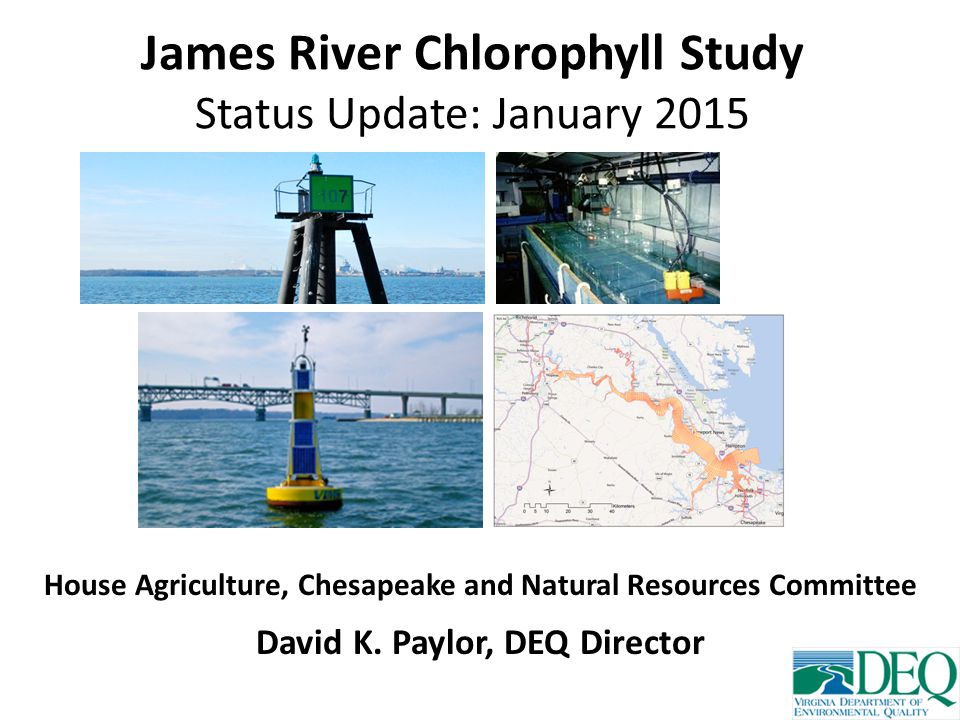 James River Chlorophyll Study Status Update: January 2015 House Agriculture, Chesapeake and Natural Resources Committee David K.