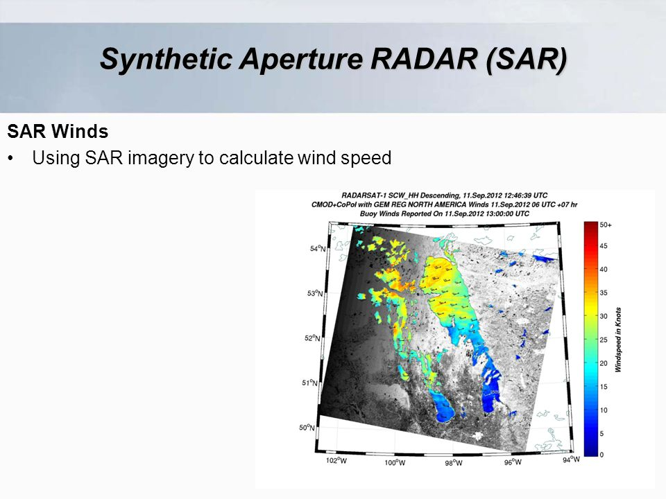 SAR Winds Using SAR imagery to calculate wind speed