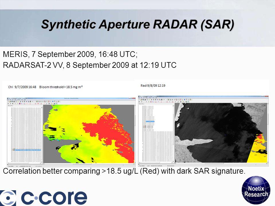 Synthetic Aperture RADAR (SAR) MERIS, 7 September 2009, 16:48 UTC; RADARSAT-2 VV, 8 September 2009 at 12:19 UTC Correlation better comparing >18.5 ug/L (Red) with dark SAR signature.