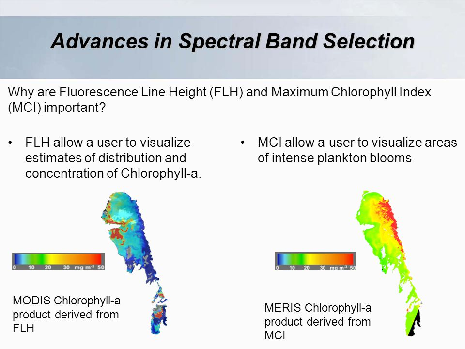 Advances in Spectral Band Selection Why are Fluorescence Line Height (FLH) and Maximum Chlorophyll Index (MCI) important.
