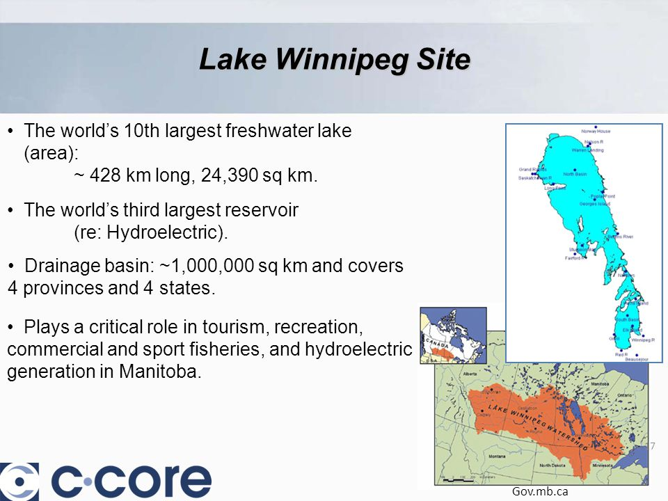 The world's 10th largest freshwater lake (area): ~ 428 km long, 24,390 sq km.