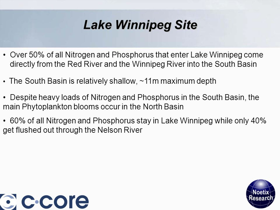 Lake Winnipeg Site Over 50% of all Nitrogen and Phosphorus that enter Lake Winnipeg come directly from the Red River and the Winnipeg River into the South Basin The South Basin is relatively shallow, ~11m maximum depth Despite heavy loads of Nitrogen and Phosphorus in the South Basin, the main Phytoplankton blooms occur in the North Basin 60% of all Nitrogen and Phosphorus stay in Lake Winnipeg while only 40% get flushed out through the Nelson River