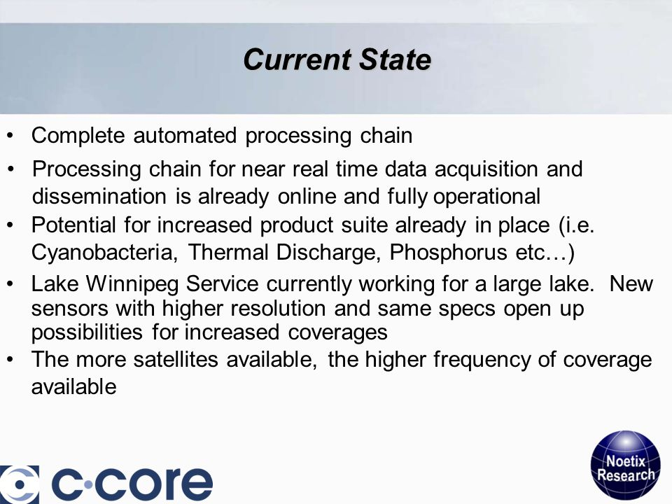 Current State Complete automated processing chain Potential for increased product suite already in place (i.e.