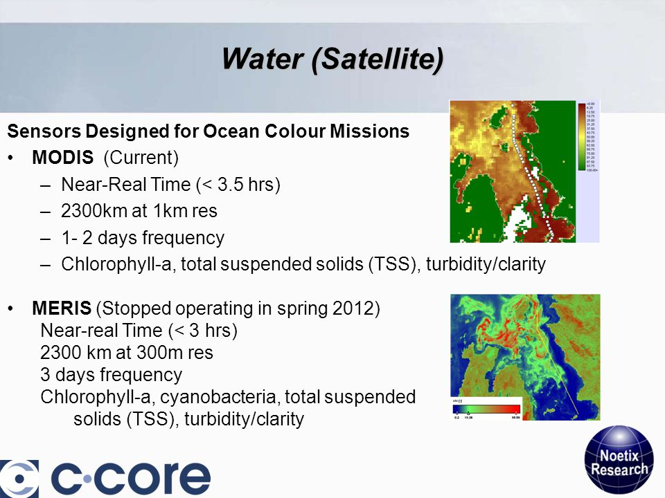 Sensors Designed for Ocean Colour Missions MODIS (Current) –Near-Real Time (< 3.5 hrs) –2300km at 1km res –1- 2 days frequency –Chlorophyll-a, total suspended solids (TSS), turbidity/clarity Water (Satellite) MERIS (Stopped operating in spring 2012) Near-real Time (< 3 hrs) 2300 km at 300m res 3 days frequency Chlorophyll-a, cyanobacteria, total suspended solids (TSS), turbidity/clarity