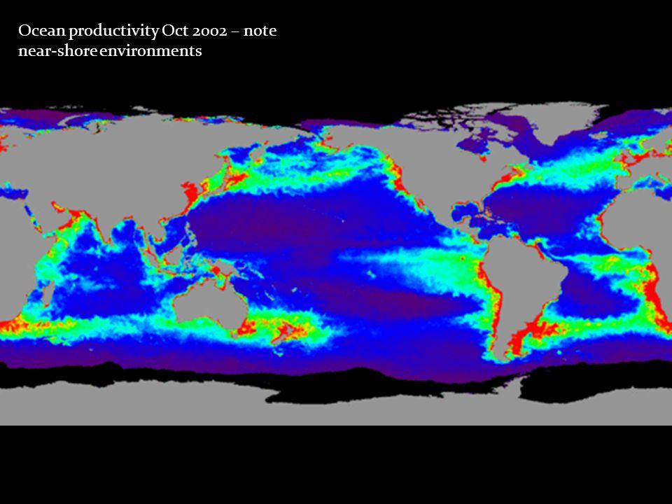 Ocean productivity Oct 2002 – note near-shore environments