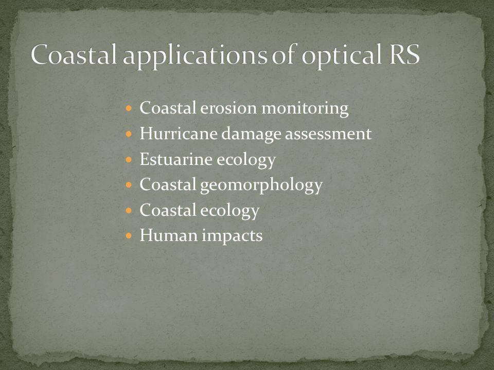 Coastal erosion monitoring Hurricane damage assessment Estuarine ecology Coastal geomorphology Coastal ecology Human impacts