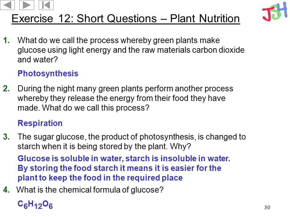 30 Exercise 12: Short Questions – Plant Nutrition 1.What do we call the process whereby green plants make glucose using light energy and the raw mater