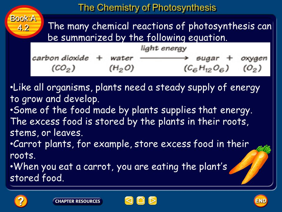 Book:A 4.2 Book:A 4.2 The Chemistry of Photosynthesis The many chemical reactions of photosynthesis can be summarized by the following equation. Like