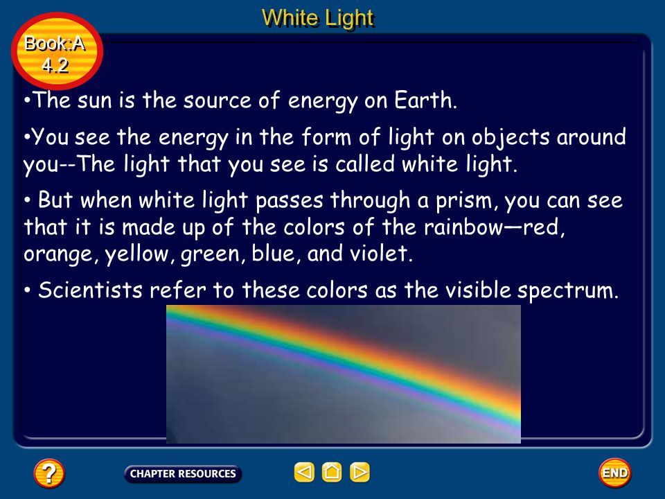 White Light Book:A 4.2 Book:A 4.2 The sun is the source of energy on Earth. You see the energy in the form of light on objects around you--The light t