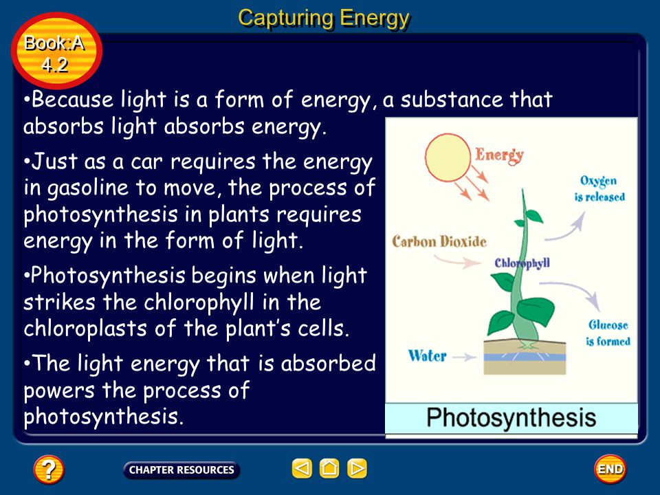 Capturing Energy Book:A 4.2 Book:A 4.2 Because light is a form of energy, a substance that absorbs light absorbs energy. Just as a car requires the en
