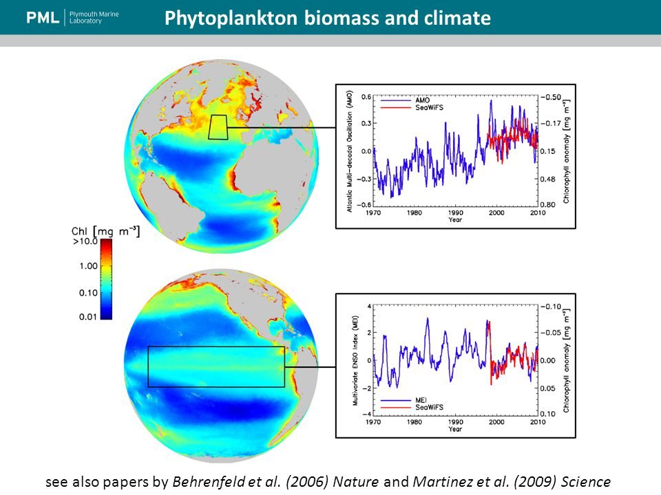 Source ESA: http://www.esa.int/esaEO/SEMB88KX3XG_index_1.html Phytoplankton biomass and climate see also papers by Behrenfeld et al.